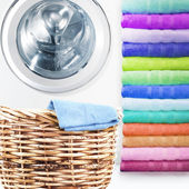 Laundry Basket and washing machine — Stock Photo