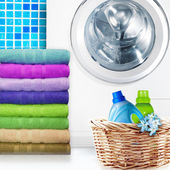 Laundry Basket and washing machine — Stock Photo