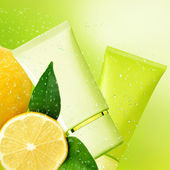 Tubs lemon cream. Natural cosmetic background. — Stock Photo