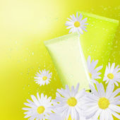 Tubs camomile cream. Natural cosmetic background. — Stock Photo
