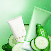 Tubs cucumber cream. Natural cosmetic background. — Stock Photo