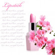 Lipstick with spring flower - Stock Photo