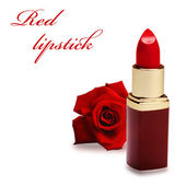 Red lipstick with rose — Stock Photo