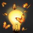 Glowing lamp with butterfly — Stock Photo