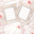 Classic frame with rose and lace over lase background. — Stock Photo