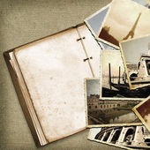 Vintage travel background with old photo. — Foto de Stock