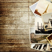 Vintage travel background with old photo. — Stock Photo