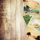 Vintage reizen achtergrond met oude foto. — Stockfoto