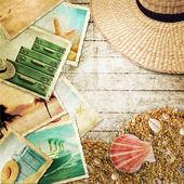 Antecedentes de viajes vintage con foto antigua. — Foto de Stock