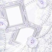 Classic frame with rose and lace over lase background. — Photo