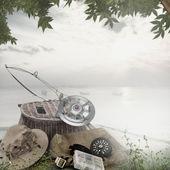 Matériel de pêche sur le pont — Photo