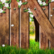 Wooden fence on the spring background. - Stock Photo