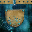 Leather pocket. Denim background  — Stock Photo