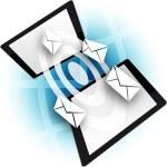 Modern communication technology illustration with mobile phone. — Stock Photo