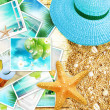 Vacation concept collage, sunny colorful abstract background with many travel and tourism images. — Stock Photo #26193503