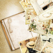 Vintage wedding background. (Collage of old photos) — Stock Photo