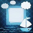 Blank banner and blue boat on fabric background  — Stock Photo