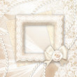 Wedding background. Classic frame with rose and lace over lase background. — Stock Photo #26194147