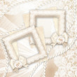 Wedding background. Classic frame with rose and lace over lase background. — Stock Photo