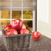 Ripe red apples in the basket — Stock Photo