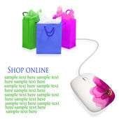 Shopping bags and computer mouse. Concept of e-shopping. — Stock Photo