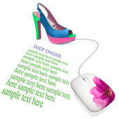 Shoes and computer mouse. Concept of e-shopping. — Stock Photo