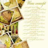 Conceito de vinho. fotos antigas sobre o fundo de madeira. — Foto Stock