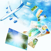 Background with airplane and with photos from holidays. Travel concept. — Stock Photo
