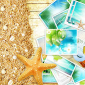 Vacation concept collage, sunny colorful abstract background with many travel and tourism images. — Stock Photo