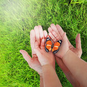 Open hand of father and child outdoor on green grass — Stock Photo