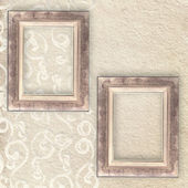 Golden frame over pastel wallpaper — Zdjęcie stockowe