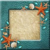 Photo frame with sea shells — Stock Photo