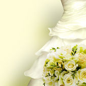 Wedding card white dress and bouquet of roses. — Stock Photo