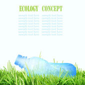 Squashed plastic bottle on the grass. Ecology concept. — Stock Photo