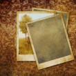 Vintage photos on dark damask background — Stock Photo