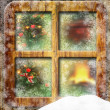 Christmas through a wooden window — Stock Photo