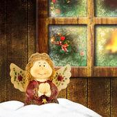 Praying angel on the Christmas background. — Stock Photo