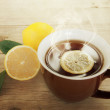 Cup of hot tea with lemon.  — Stock Photo