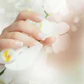 Fresh white orchid in female hands, woman holding flower. Health care and spa concept. — Stock Photo