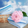 Basket of freshly laundered towels on summer blue sky — Stock Photo