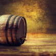 Old barrel on a wooden table. — Stock fotografie