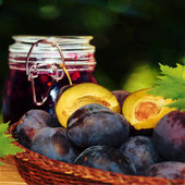 Fresh plums in basket on the table. — Stock Photo