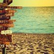 Travel and vacation concept. Direction to different places of the world indicated on the sign. — Stock Photo #31730725