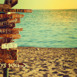 Travel and vacation concept. Direction to different places of world indicated on sign. — Stock Photo #31730725