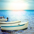 Wooden rowboat on sea. — Stock Photo #32690573