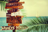 Travel and vacation concept. Direction to different places of the world indicated on the sign — Stock Photo