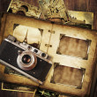 Vintage photo album with old camera. — Stock Photo