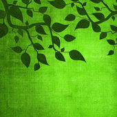 Green leaves on paper texture. — Stock Photo