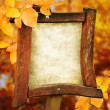 Wooden sign on the autumn background. — Stock Photo