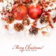 Christmas composition with snow and Christmas decoration (with sample text)  — Стоковая фотография